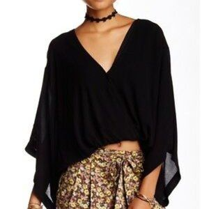 Free People Sleepy Time Boho Draped Black Top | S